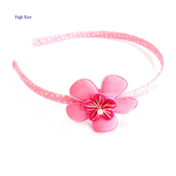 Pink Flower and Dotted Ribbon Headband, Ribbon Alice Band