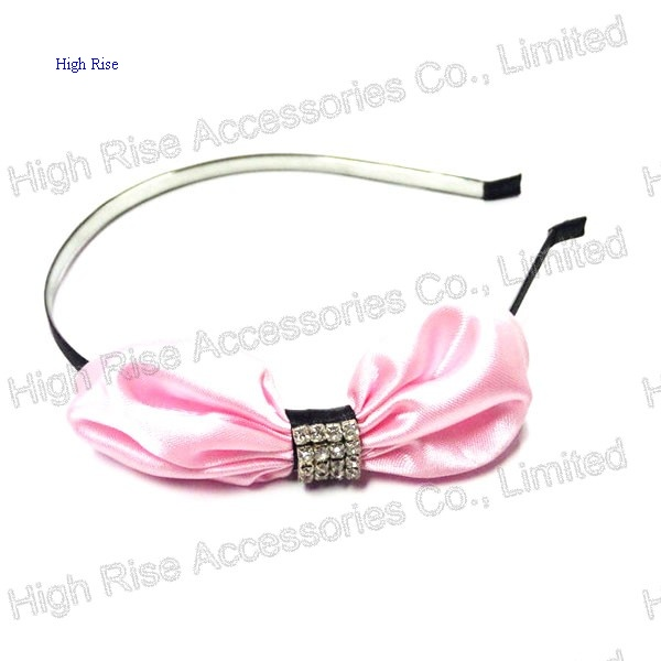 Pink Satin Bow With Crystal Charm Headband, Big Bow Alice Band