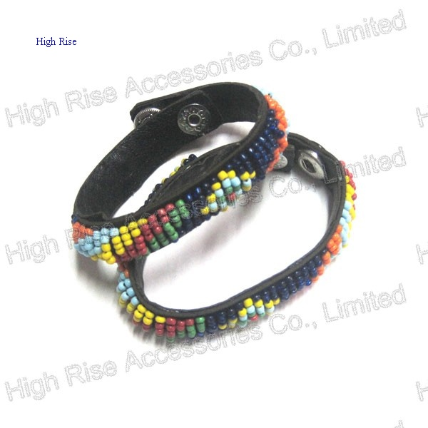 Colored Beaded Leather Bracelet