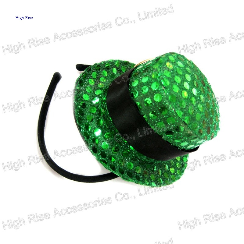 b4794fd385d Christmas Green Sequin Top Hat party Headband Alice Band