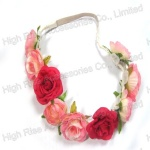 Two Color Roses Garland, Flower Crown With Leaves