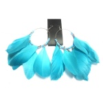 Blue Feather Earrings With Beads on Loop