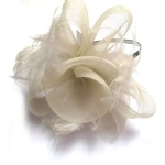 Mesh Bow With White Feather Fascinator