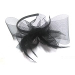 Mesh Bow With Feathers Fascinator Alice Band