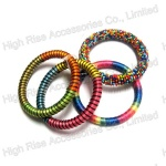 Multiple Thread Twined And Beads Bangle Set