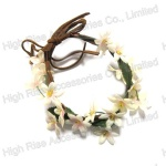 Daisy Flower Bracelet With Leather Band, Wrist Flower