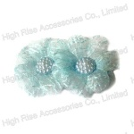 Light Blue Lace Flower Duck Clip, Small Hair C