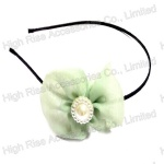 Chiffon Bow With Pearls Alice Band
