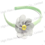 White Grosgrain Flower Alice Band