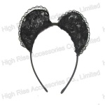 Thick Black  Lace Ear Alice Band