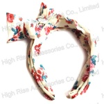 Rustic Floral Pattern Bow Alice Band
