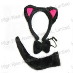 Cat Ears, bowtie and tail Kit, Halloween Kit, Party kit
