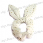Golden Glitter Dots White Scruchie With Wired Bow